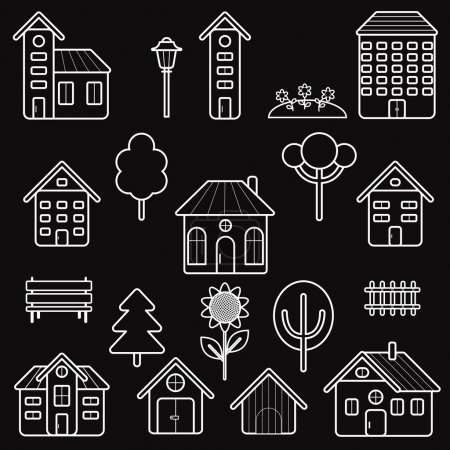 Set home and exterior outline icons