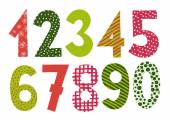 Numbers 0-9 letters vector Funny colorful numbers set in red-green colours Count numbers set isolated on white background