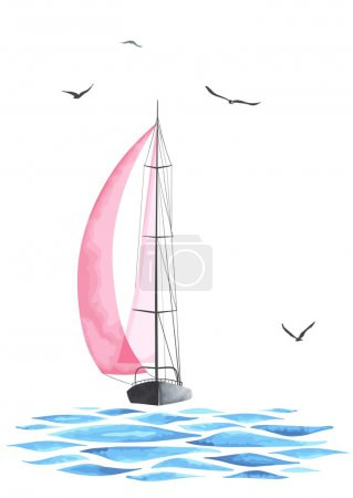 Illustration for Sailboat in the sea and seagulls. Objects made in the vector and isolated on white background. Watercolor imitation. Sport yacht, sailboat. - Royalty Free Image