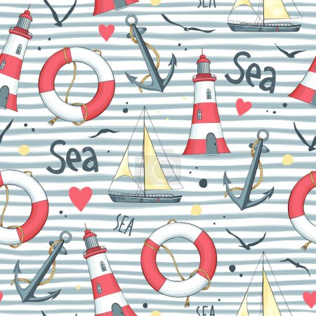 Illustration for Nautical pattern with sailboat, seagulls, life buoy, anchor and lighthouse made in the vector. White background. - Royalty Free Image