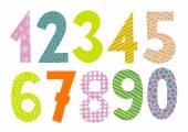 Numbers 0-9 letters vector Funny colorful numbers set Count numbers set isolated on white background