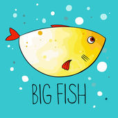Vector illustration of yellow fish with red fins and tail on turquoise background