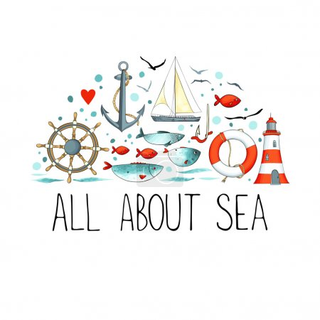 Illustration for Vector illustration design of sea pattern with nautical elements - Royalty Free Image