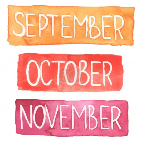 Watercolor tablets with autumn months