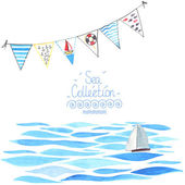 Sea background with sailboat and garland