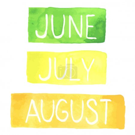 Hand painted watercolor tablets with summer months