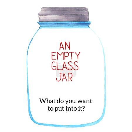 Illustration pour Un pot en verre vide. Peint à l'aquarelle. Que voulez-vous y mettre ? - image libre de droit