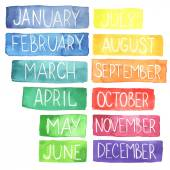 Hand painted atercolor  rainbow calendar made in vectorTtablets with months