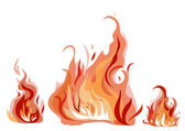 Bright fire flames with sparks isolated on white background Vector illustration