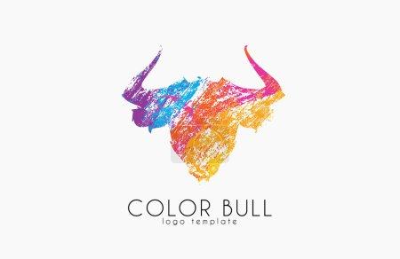 Illustration pour Logo Bull design. Taureau de couleur. Logo animal Crealive . - image libre de droit