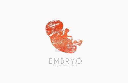 Embryo logo design. Silhouette of embryo baby in gunge style. Creative logo