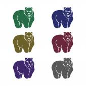 The image of the bear forest wild beast Animal pattern on a white background different shortcuts and symbols Vector illustration (characters in the form of contours of a bear)