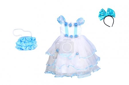 Ball Gown for girl is isolated.Accessories for the party