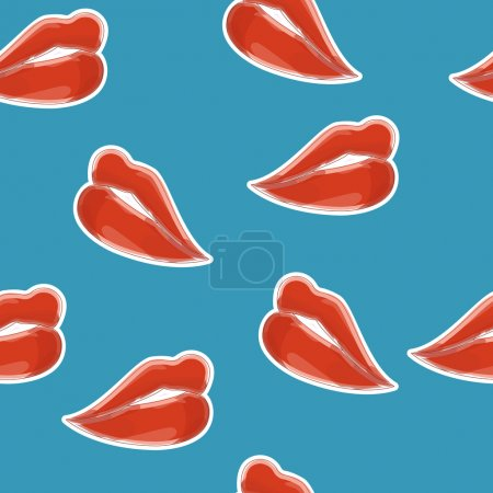Sweet lips with red lipstick seamless pattern. Bea...