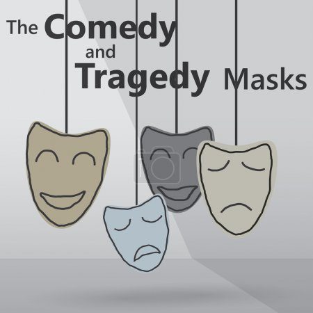 Illustration for Illustration of comedy and tragedy masks - Royalty Free Image