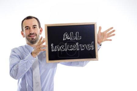 Photo pour All inclusive - jeune entrepreneur avec tableau noir - isolé sur blanc - image libre de droit