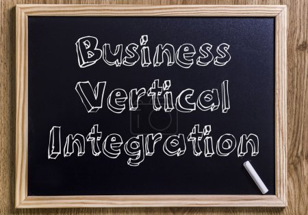 Photo for Business Vertical Integration - New chalkboard with outlined text - on wood - Royalty Free Image