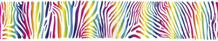 Illustration for Great horisontally seamless vector background with Zebra skin  painted in the colors of the rainbow - Royalty Free Image