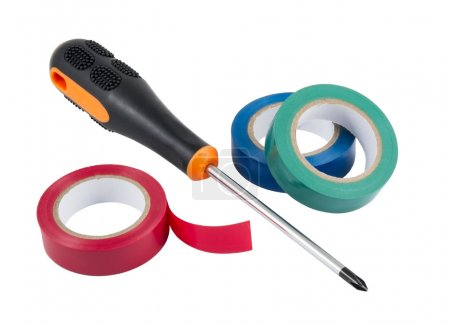 Colored duct tape with screwdriver on white backgr...