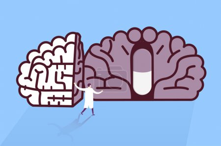 Doctor found pill in brain. Medical research concept.