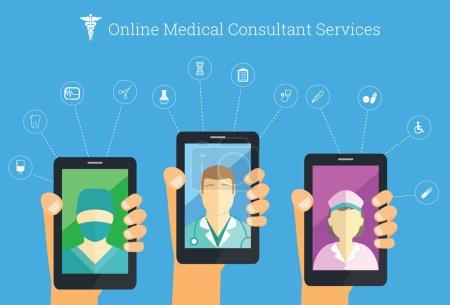 Online medical services conceptual iilustration.