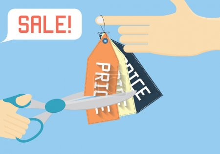 Sale off vector illustration. Cutting price flat illustration.
