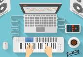 Workplace of modern music artist Flat design illustration of dj creative process