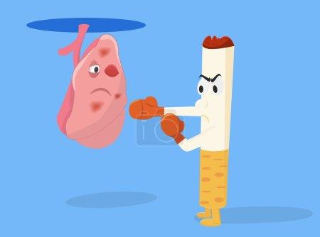 Méfaits du tabagisme illustration conceptuelle de cigarettes. Cigarette avec gants de boxe est le coup du poumon