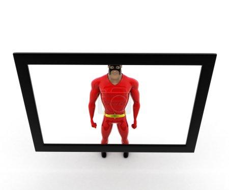 superhero on tv screen concept