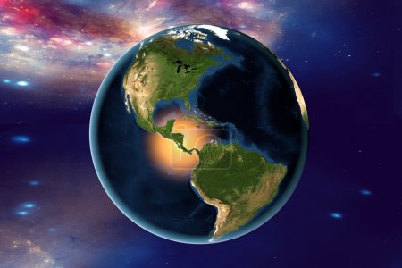 Americas from space on surrealistic background