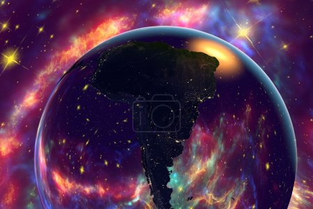 South America from space on surrealistic background