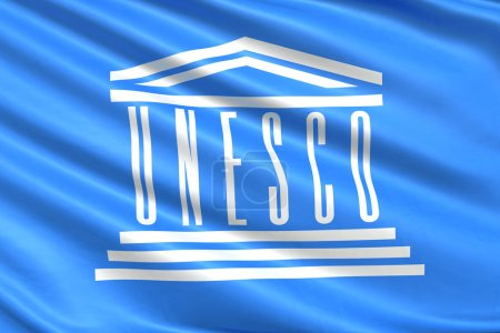 Photo pour Drapeau de l'unesco Organisation des Nations Unies. - image libre de droit