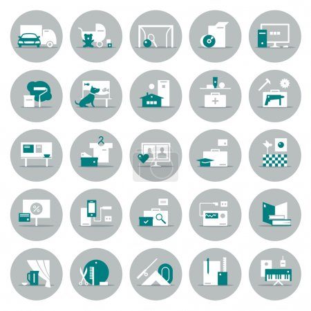 Illustration for 25 icons of different products and services - Royalty Free Image