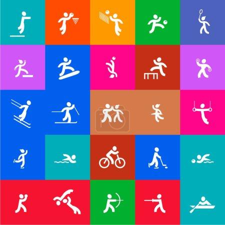 Illustration pour 25 icônes de sport de style olympique - image libre de droit