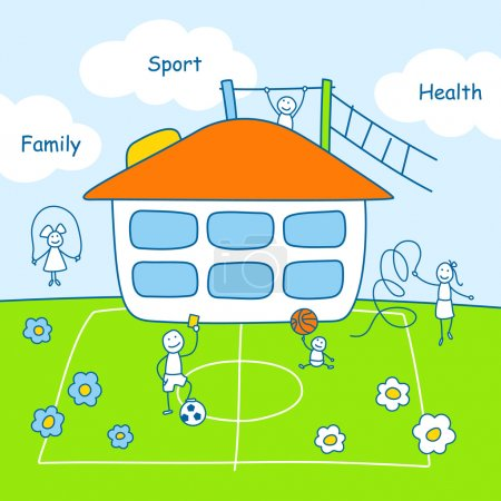 Family stories: sport and health. Linear, colored.