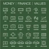 Icons set of money finance and values area Thick and thin lines White on color