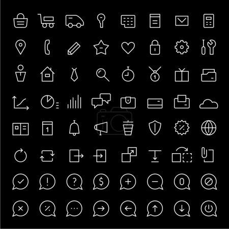 Illustration pour 64 mini icônes pour les services web et les boutiques en ligne - image libre de droit