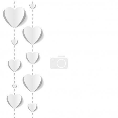 Cut out paper hearts background