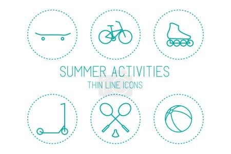 Vélo, planche à roulettes, roller skate, scooter, badminton, ballon - sport et loisirs, silhouettes isolées sur fond blanc