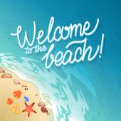 Welcome to the beach Calligraphy poster Promo travel illustration The strip of land along the sea coast with shells and seething foam