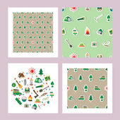 Seamless summer camp pattern(3 sets) Icons are on a green background And one set with icons about camping A Fire pointer a tent the sun All about outdoor Vector illustration