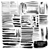 Set of abstract ink brush strokes