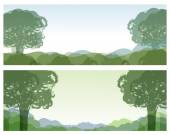 Green Landscape with Sketch trees Day and Night nature for your design