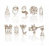 Collection Hand-drawn Symbols Christmas and New Year