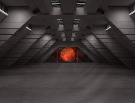 Photo for Inside a futuristic sci fi hallway 3D rendering for background or composing image - Royalty Free Image