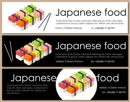 japanese food flyer sushi vector - horisontal