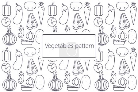 Cartoon vegetables pattern  flat vector dark