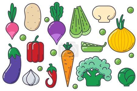 Set of flat vegetables vector