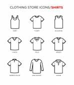T shirt icon set Clothing store Different styles Vector eps 10