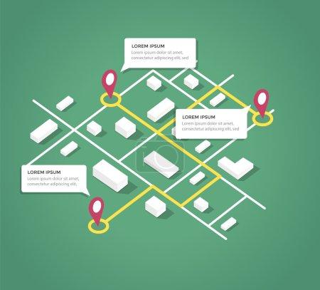 Isometric éléments de conception de carte de la ville .